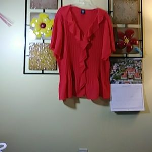 Red, ruffled crepe, with front button closure